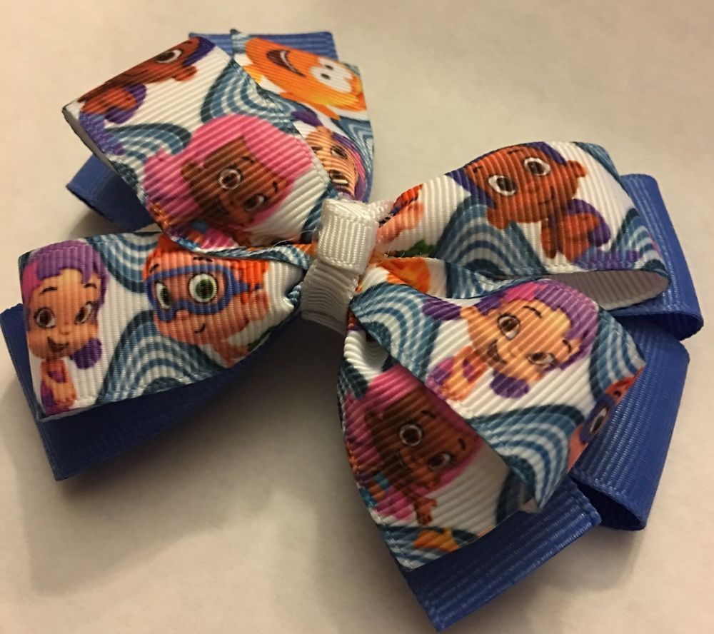 Hair bow button accessories - Beautiful Handmade Bubble Guppies Inspired Girl S Hair Bow Clothing Shoes Accessories Kids