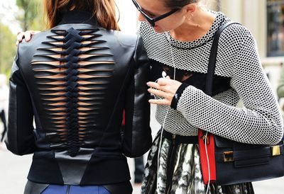 cut out leather coat