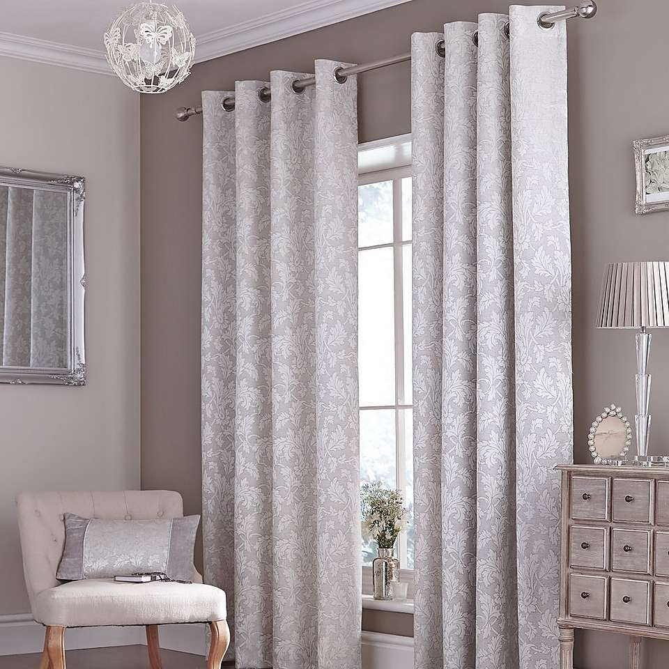 Silver canterbury curtain collection dunelm taupe and silver