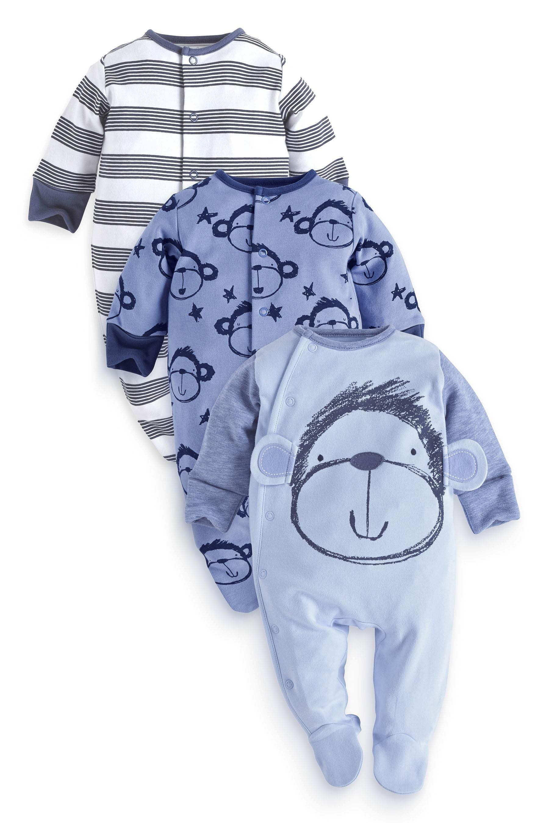 e2ded8da8 Buy Three Pack Blue Monkey Face Sleepsuits (0mths-2yrs) from the ...