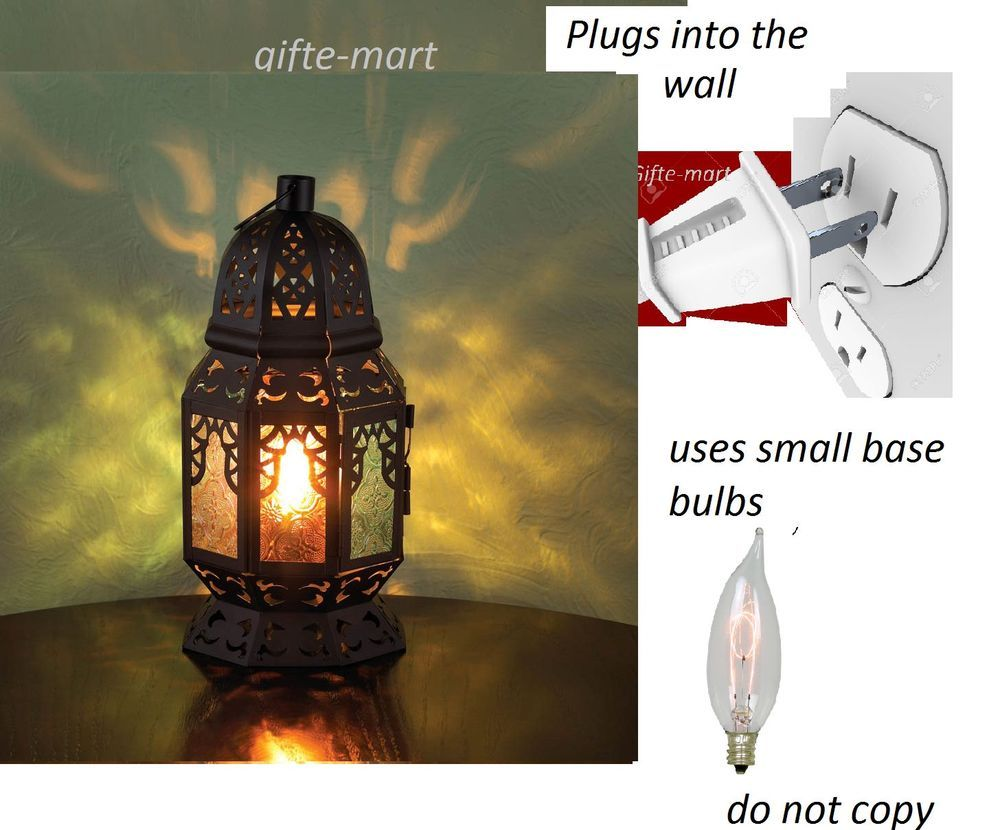 Plug In Black Punched Moroccan Electric Lantern Bedside Table Lamp Night Light Moroccan Electric Lanterns Night Light Bedside Table Lamps