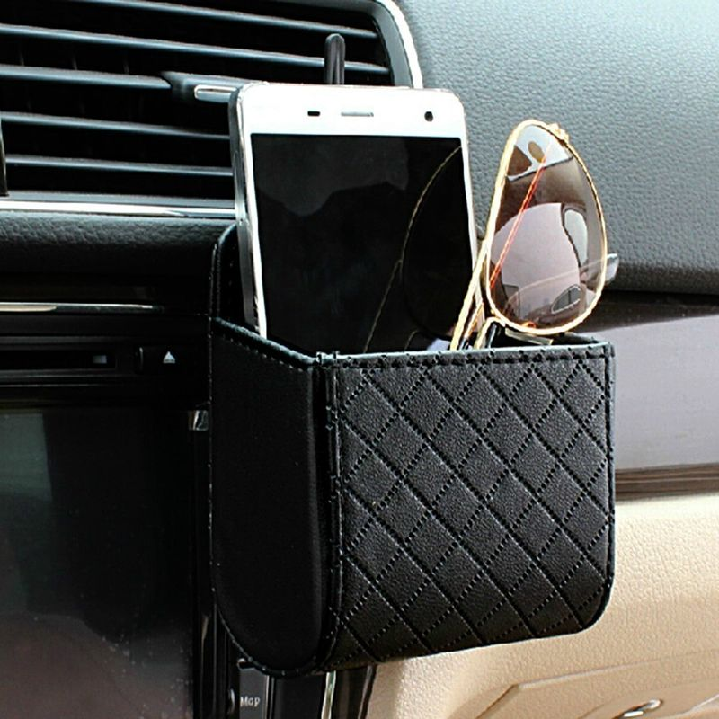 Car Storage Pouch Auto Seat Back Pouch Bag Vent Storage Cell Phone Holder with Hook