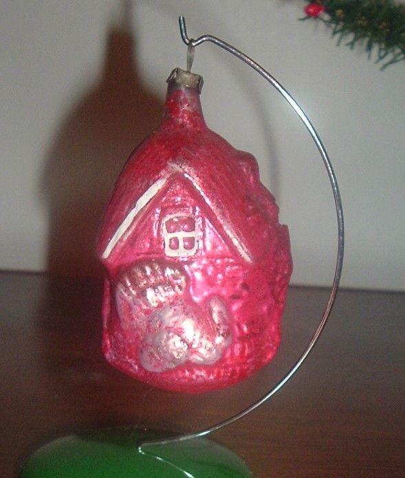 Red Barn & Turkey German Glass Ornament