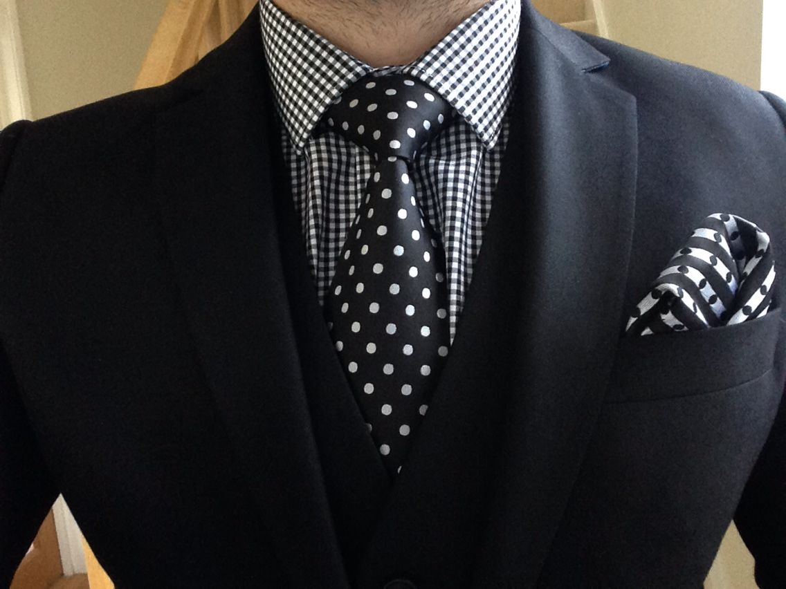 4a5794393a27b9 Black suit, gingham shirt and black/white polka dot tie & pocket square.