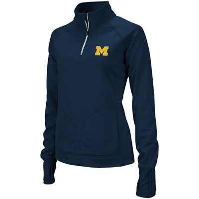 adidas Michigan Wolverines Ladies Navy Blue Training Quarter Zip Pullover Jacket