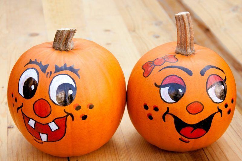 Kürbis bemalen - Ideen - Deko  Feiern, Halloween Pumpkin painting - halloween pumpkin painting ideas
