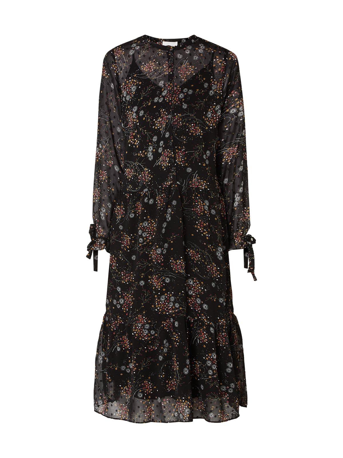neo noir kleid mit floralem muster in grau / schwarz online
