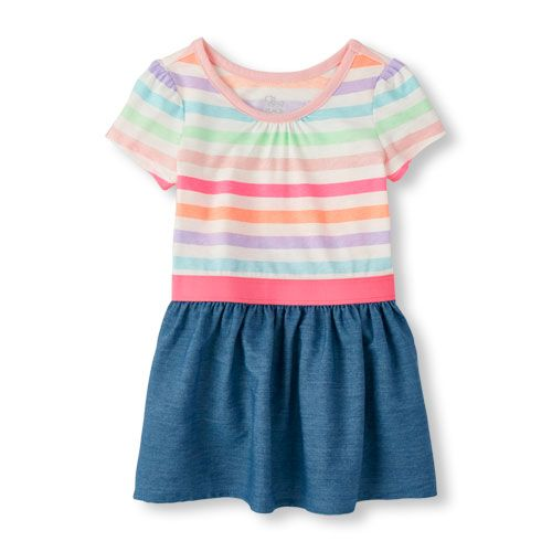 Baby Girls Toddler Short Sleeve Striped Chambray Skater Dress - Pink - The Children's Place