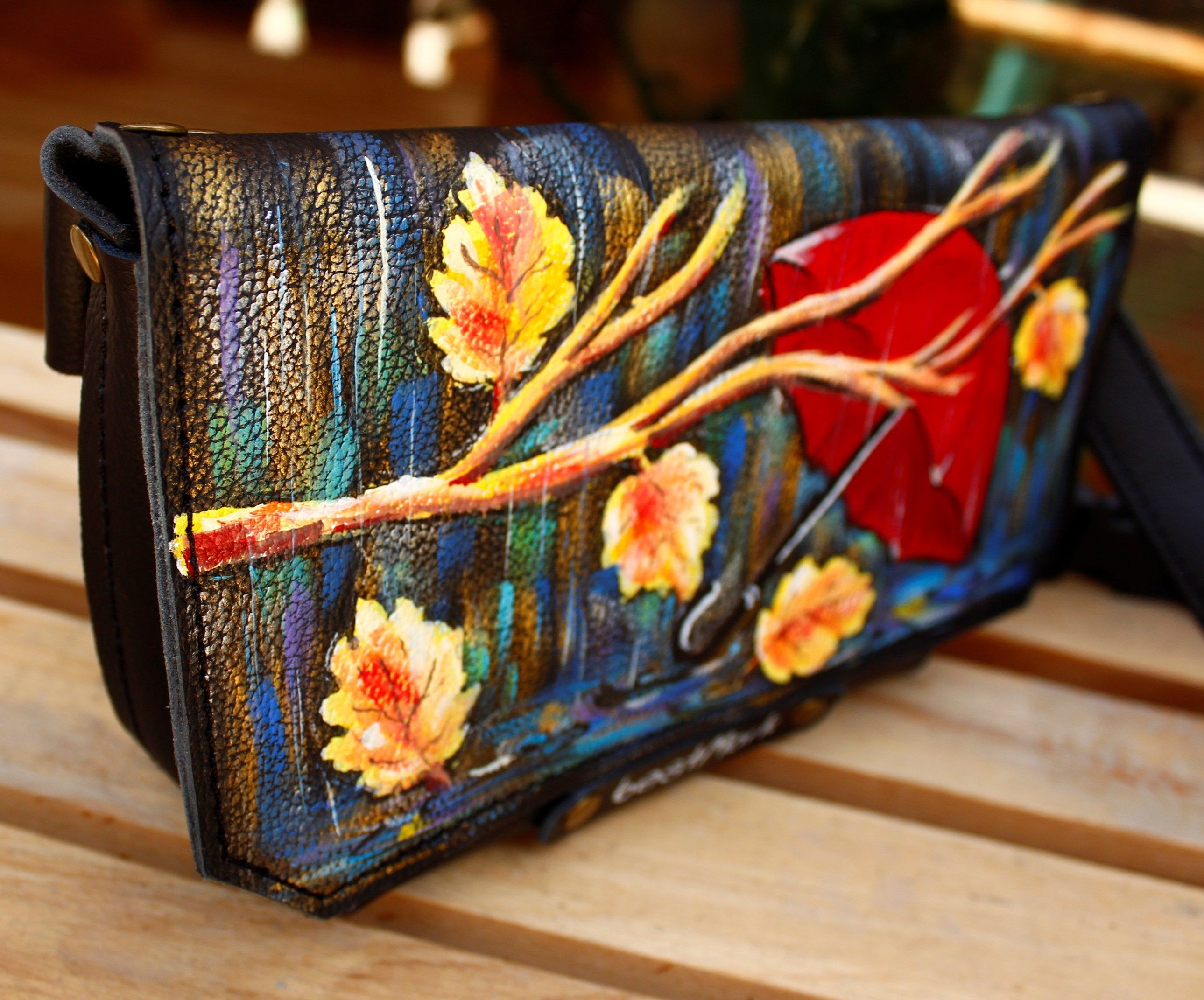Hand Painted Leather Waist Bag For Woman Leather Belt Painted Wallet Personalized Gifts Art Artwork Hand Painted Leather Etsy Tote Painting Leather