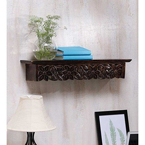 onlineshoppee large solid wood wall shelf 25 x 6 x 55 inch brown