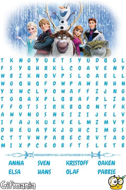 Sopa de Letras de Frozen | sopa de letras | Sopa de letras, Letras y ...