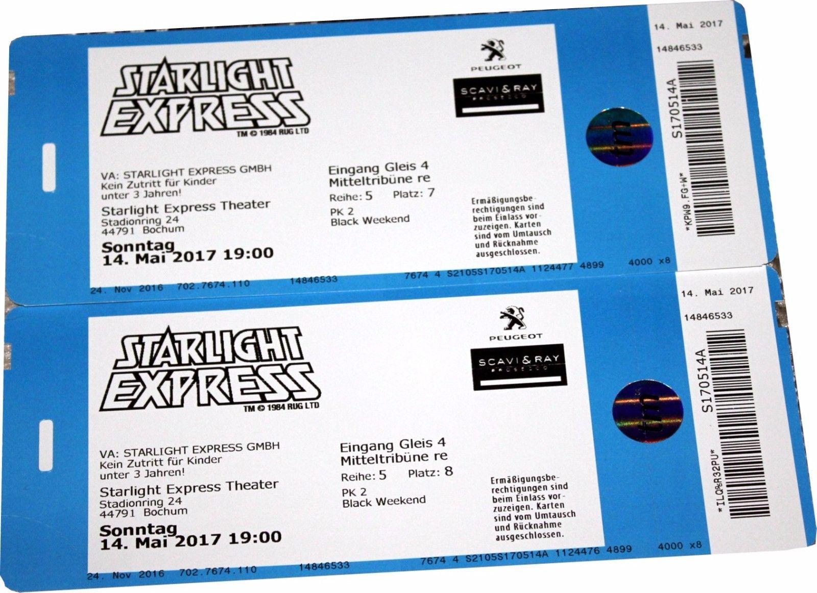 2x 4x Starlight Express Musical Tickets Pk 2 Muttertag Sonntag