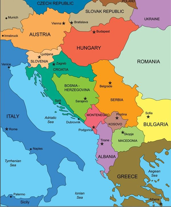 Map of Albania and surrounding south eastern countries in Europe ...