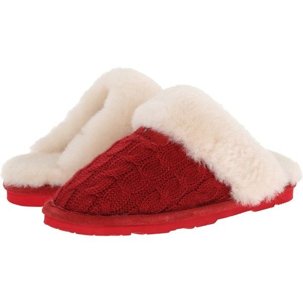 Bearpaw Effie Women's Shoes, Red (€41) ❤ liked on Polyvore featuring shoes, slippers, pajamas y red