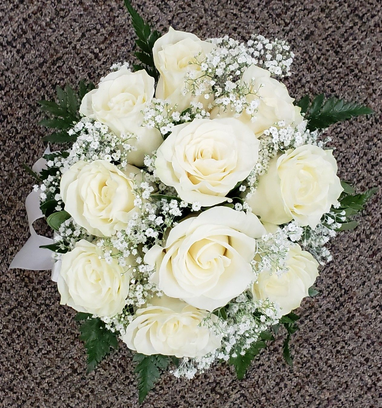 White Roses And Babies Breath Hand Tied Bouquet Lace Weddings