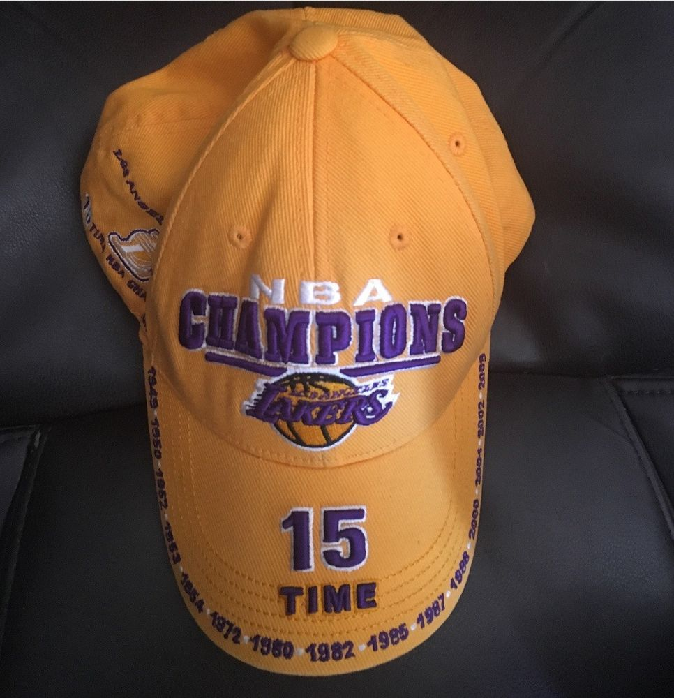 ADIDAS LA LAKERS 15 TIME NBA CHAMPS CHAMPIONSHIP HAT EMBROIDERED  COLLECTIBLE HTF (eBay Link) 6ca6e991dec