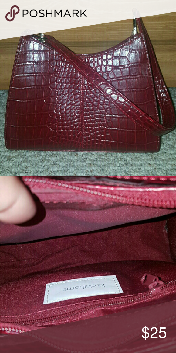 LIZ CLAIBORNE Purse 🌻 A few tiny scuffs around the edges but nothing major!  Dark red color. Clean interior. Small sized purse.  🚫NO TRADES🚫 🚫NO HOLDS🚫 Liz Claiborne Bags