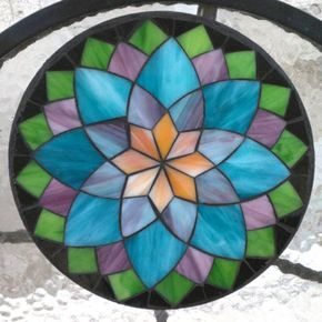 Learn Stained Glass Mosaics - Kasia Mosaics Classes » Student Work – Online Flower Class - Andrea L. B
