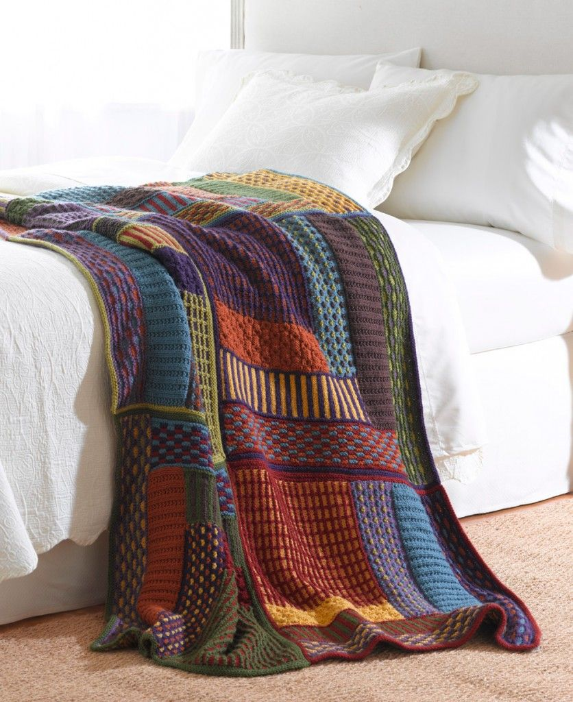 Free knitting pattern for Slip Stitch Sampler Afghan and more ...