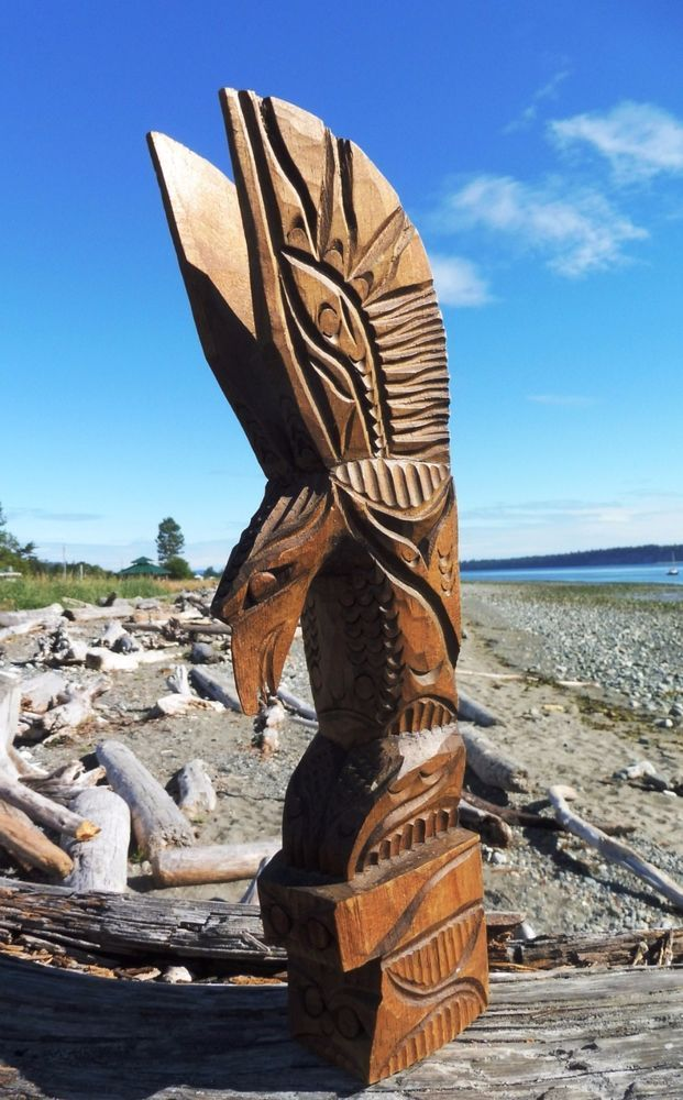 Northwest Coast First Nations Native Art Carving Nuu Chah Nulth EAGLE TOTEM POLE