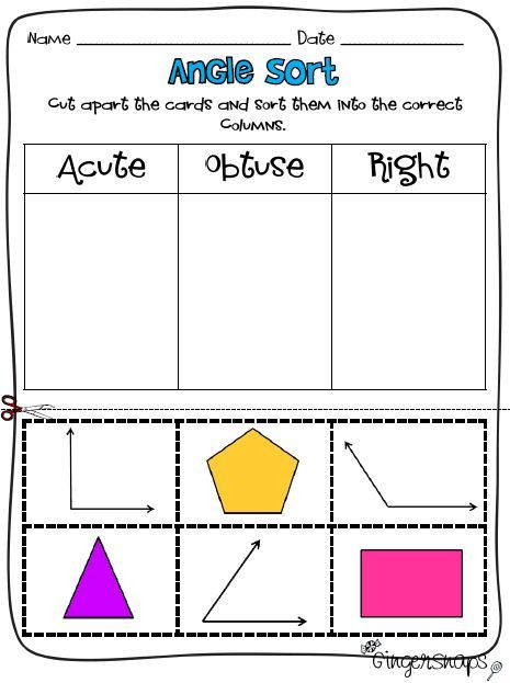 Don\'t be OBTUSE, print yourself ACUTE angle worksheet like this ...