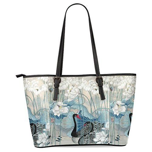 723d9f2a1 InterestPrint Swan Lotus Womens Leather Tote Shoulder Bags Handbags * You  can get more details by clicking on the image.