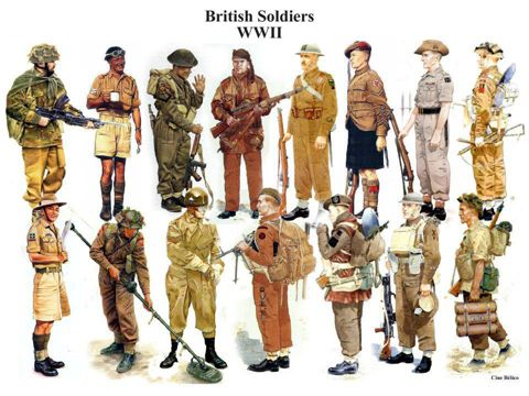 Uniforms of 🇬🇧 British Empire troops in WWII.   British army ...