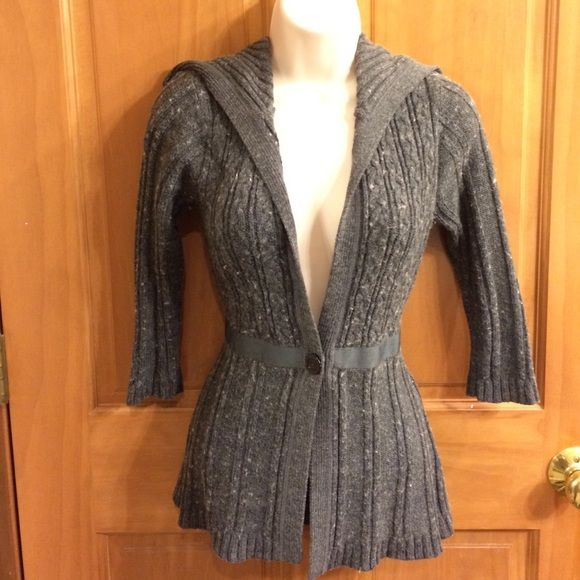 Gray cardigan sweater with snap close Super cute gray cardigan sweater with front snap closure and tie in back to accentuate waist. SO Sweaters Cardigans