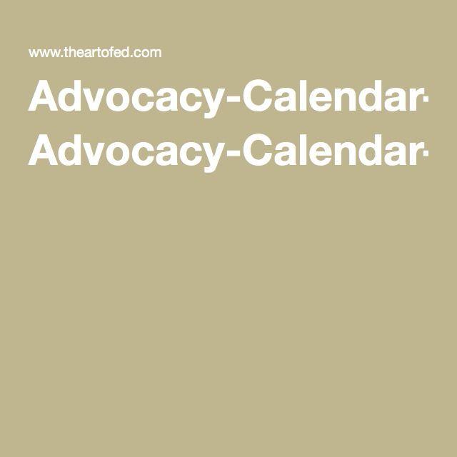 AdvocacyCalendarSamplePdf  Curriculum Planning