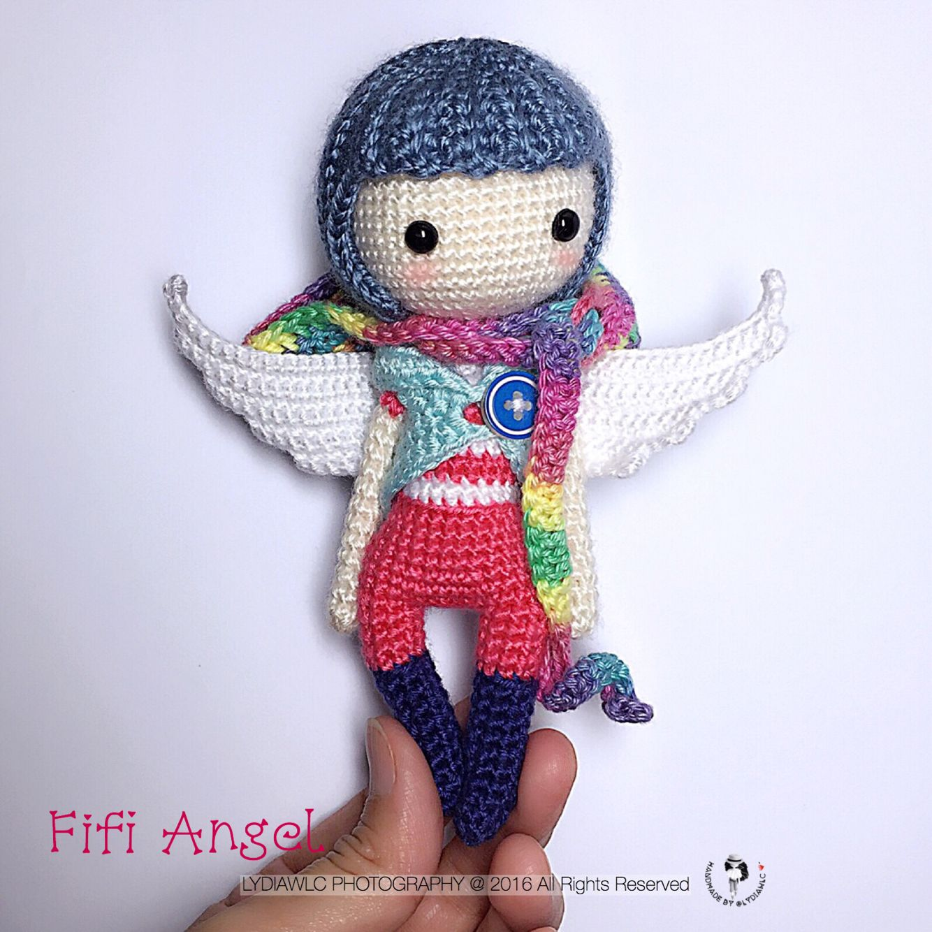 English: Crochet Doll Pattern-Angel Fifi 菲菲 | Pecas, Muñecas y Tejido