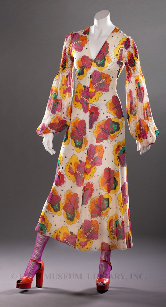 72d9d23aea4 1970-1972 - Thea Porter dress - Printed polyester chiffon 70s designer dress  30s 40s style Biba-like floral graphic print white red green yellow shoes