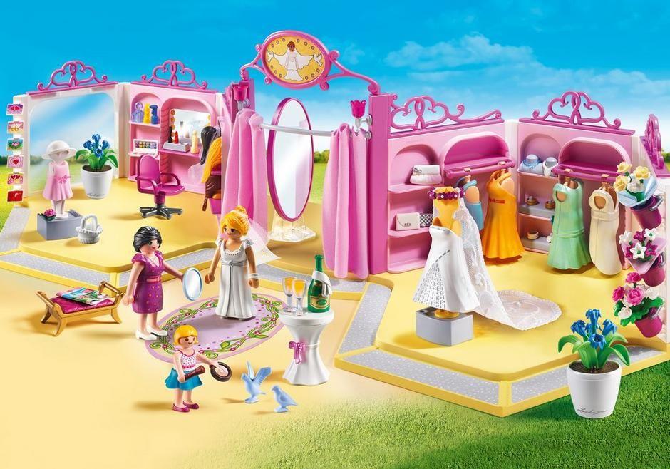 Die Schicken Kleider Accessoires Und Frisuren Bieten Unendlichen Spielspass Fur Das Styling Der Braut Und Der Brautjungfer Bridal Shop Wedding Doll Playmobil