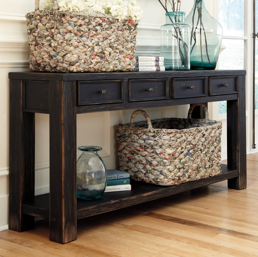 black entryway table white distressed weathered console table low shelves extra storage and