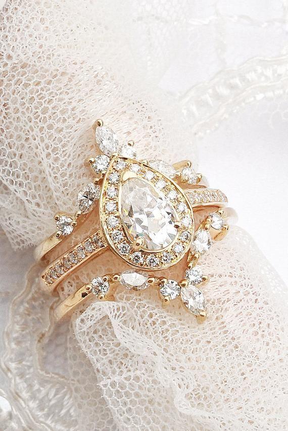 Pear Diamond Wedding Ring Set Diamond Halo Unique Engagement