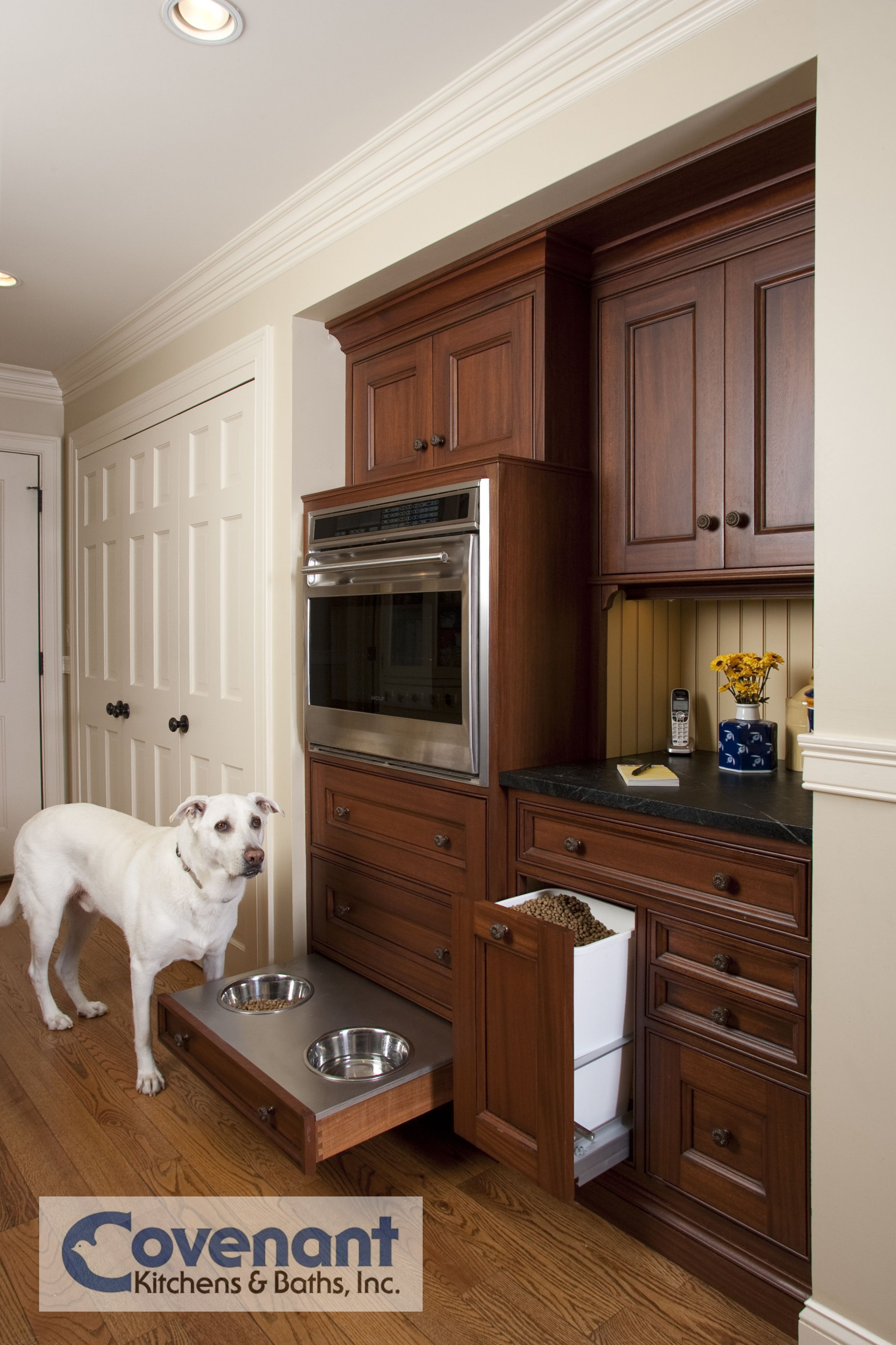 Great Shot Of These Custom Dog Food Bowls Integrated Into This
