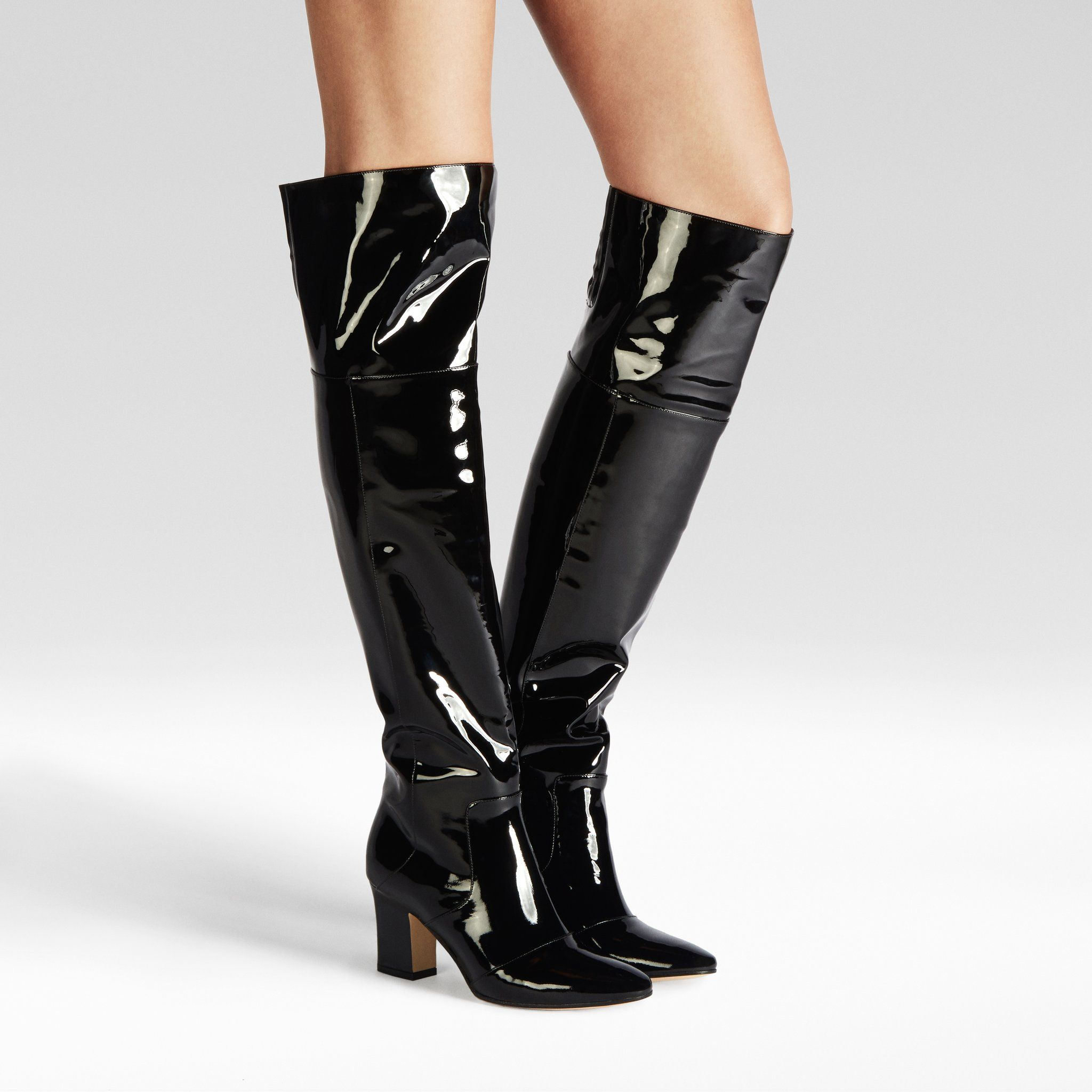 Lust Over The Knee Patent Boot  40f9d95b6684f