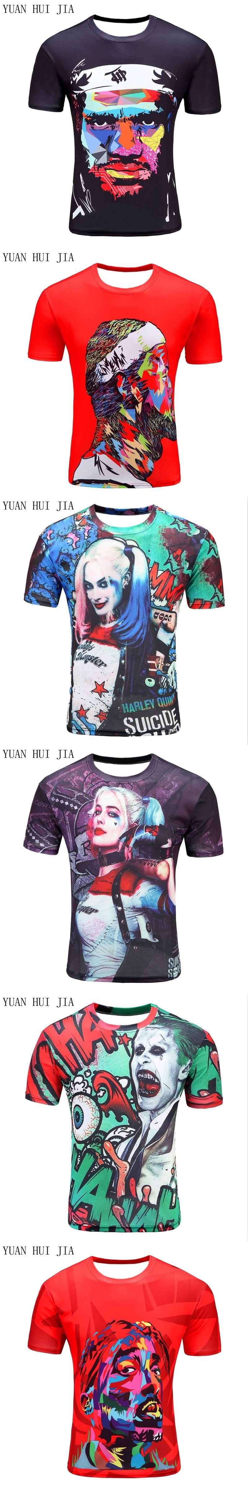 3c52c252 Mens Harley Quinn Joker T Shirts 3D Deadshot T-shirts Funny Movie Tops  Summer Suicide