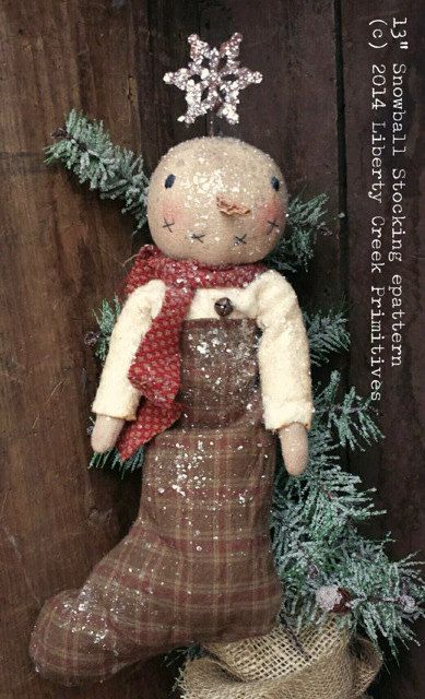 Super-adorable epattern!! Snowman stocking measures approx. 13 when completed. Turning tubes and hemostat are suggested for turning smaller pieces. This listing is for the epattern to create the item shown, not for the finished product. (c) 2014 Liberty Creek Primitives.
