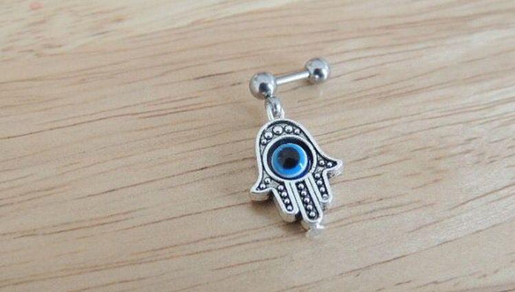 Blue evil eye hamsa cartilage piercing