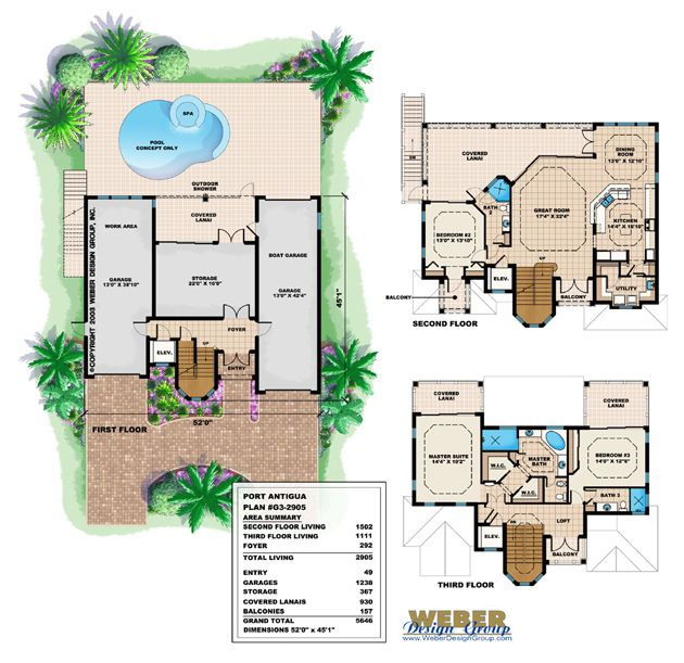port antigua home plan-narrow lot house plansweber design group