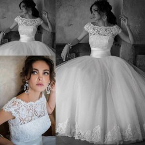 Crew Bridal Ball Gowns Cap Sleeve Lace Princess Wedding Dresses Z8007 On Made In