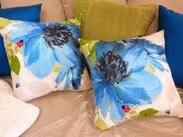 blue poppy cushions