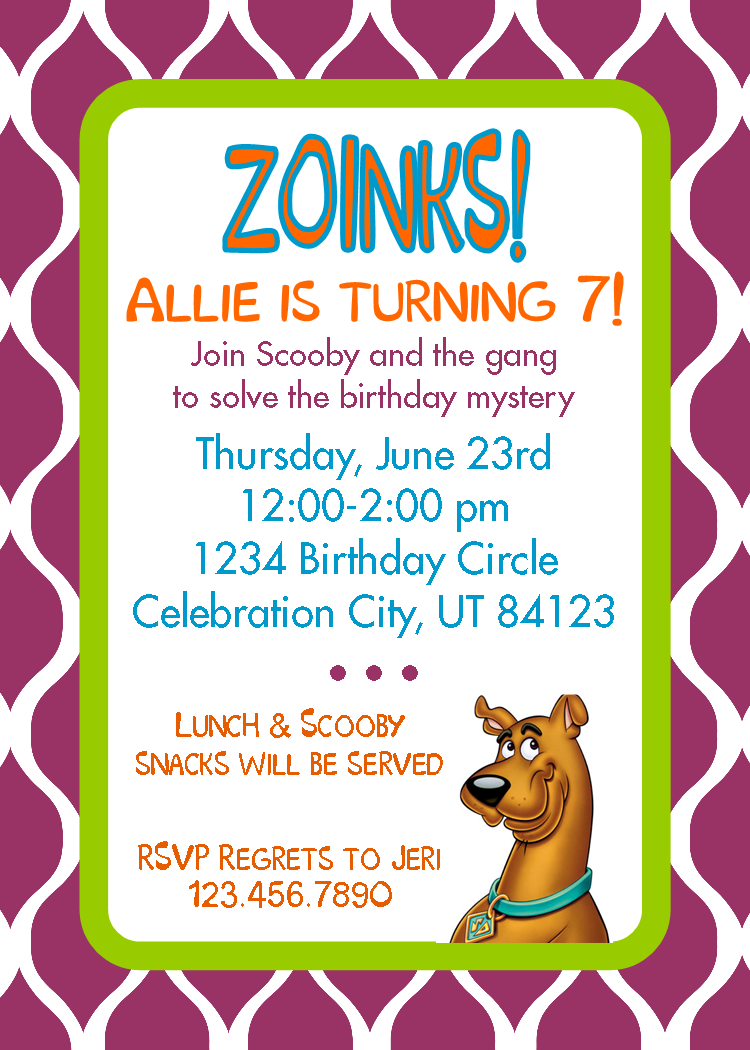 Scooby Doo invitation Birthday Party Pinterest – Scooby Doo Party Invitations