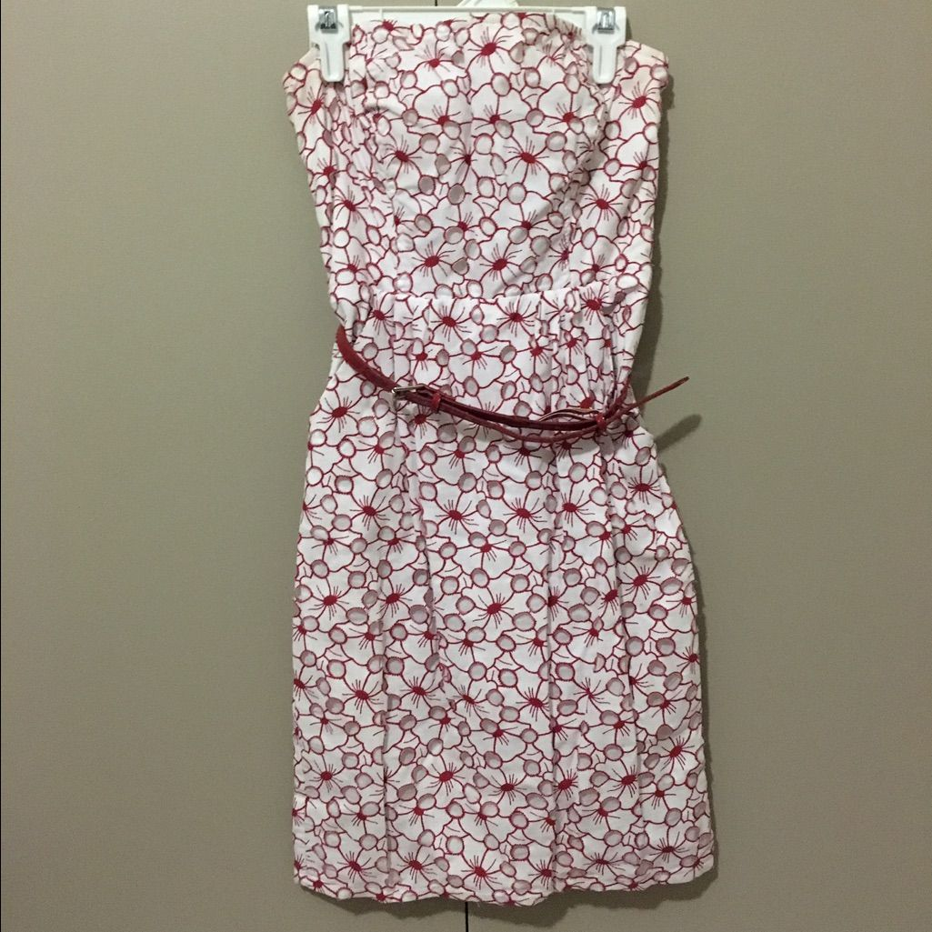 Strapless Red And White Floral Dress