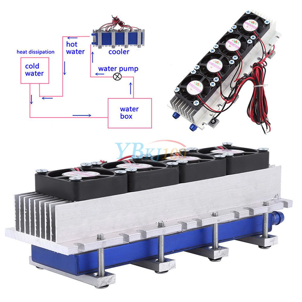 288W 12V DIY Thermoelectric Cooler Refrigeration Air Cooling Device 4*TEC1-12706