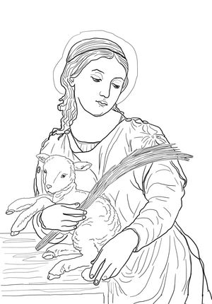 Saint Agnes coloring page | Paper | Pinterest | Catecismo, Papa y Santos