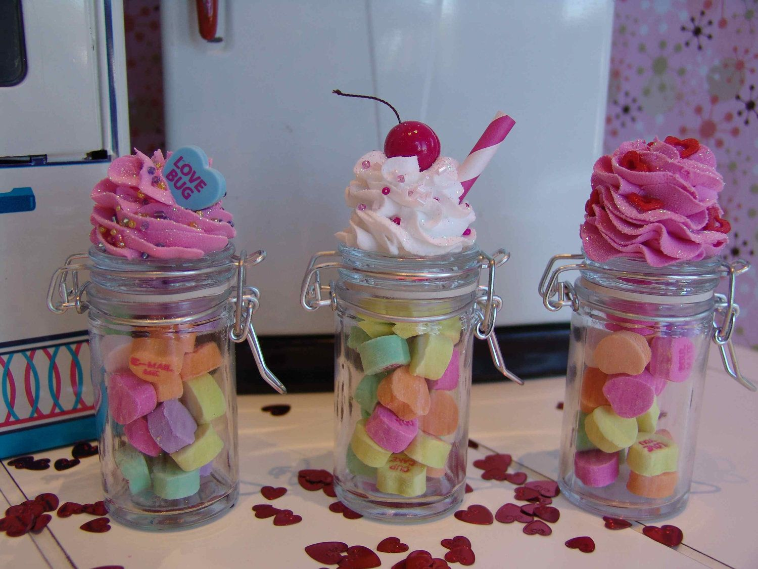 Set of 3 Sweet Heart Candy Jars filled with by TheFakeryBakeryShop, $14.95