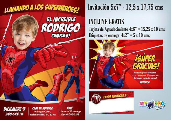 Invitación De Spiderman Con Su Niño Como El Hombre Araña