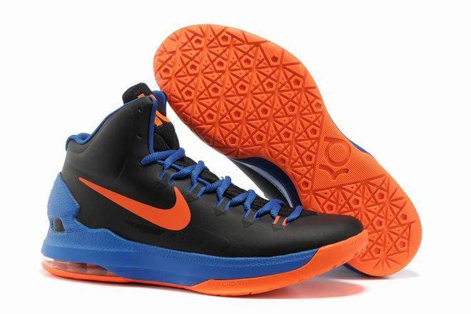 Kevin Durant Shoes:KD V Black Photo Blue – Team Orange Color