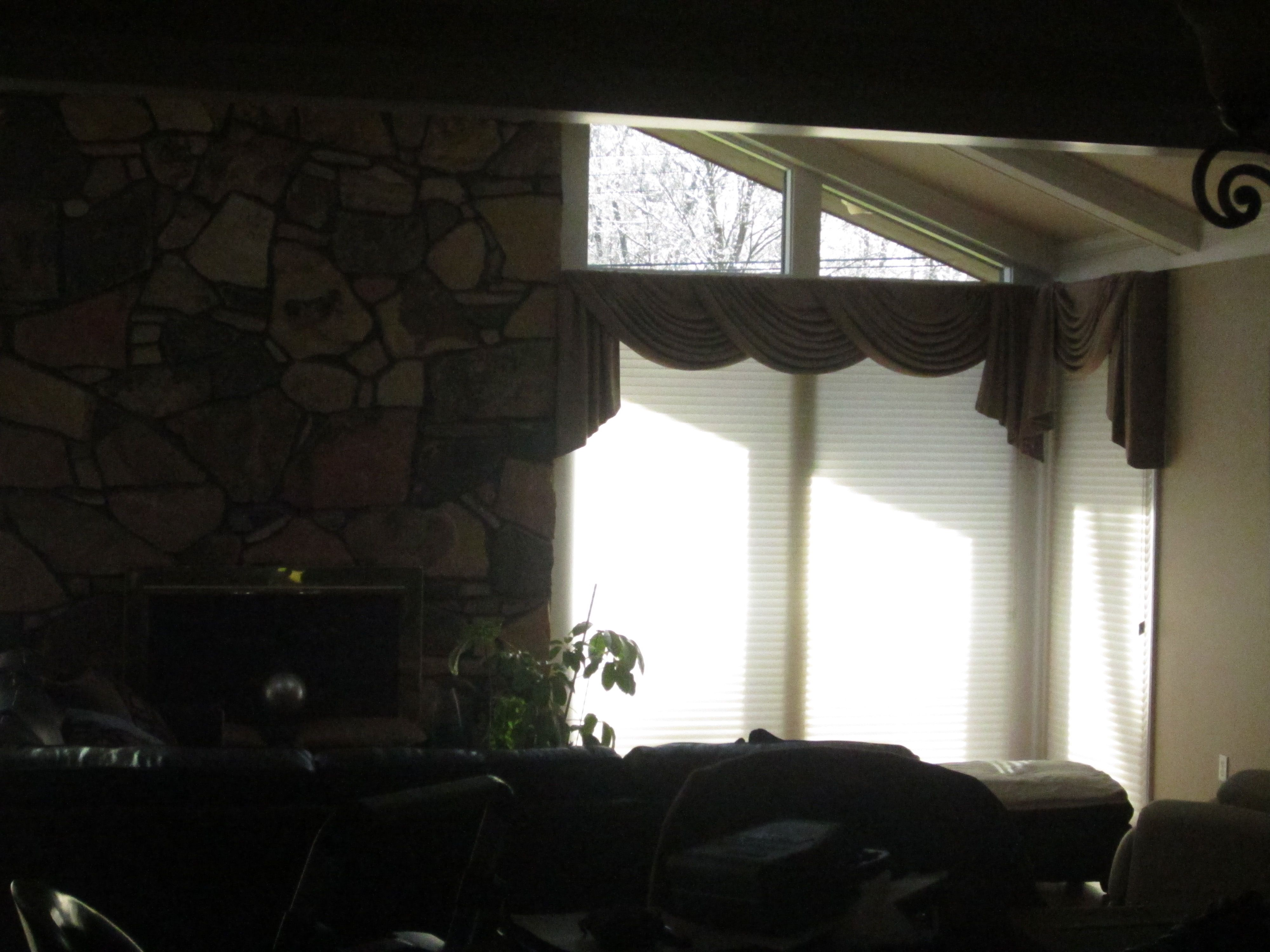 Gathered Swags Jabots On Corner Windows Interior Design